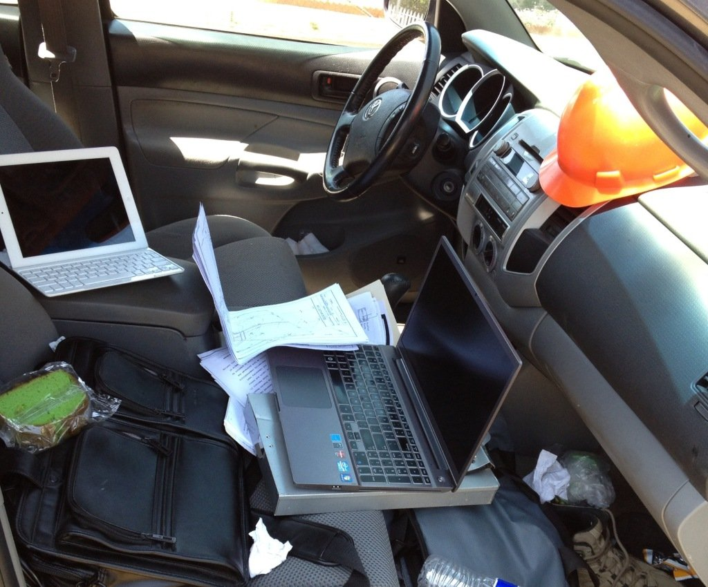 messy car interior